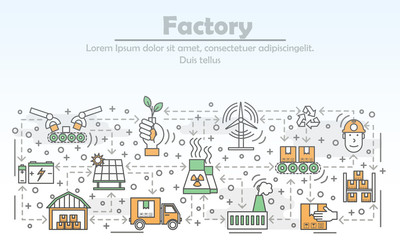 Ecological factory advertising vector flat line art illustration