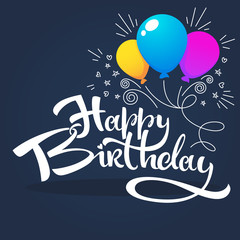 glossy and shine birthday card vector template,with balloon images and happy birthday lettering composition