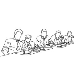five business people talking to each other in meeting room with gray graph up vector illustration doodle sketch hand drawn with black lines isolated on gray background.Teamwork business concept.