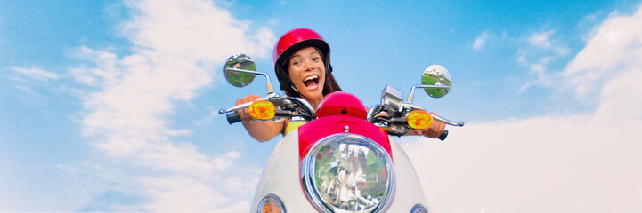 Wall Mural - Travel fun funny tourist carefree driving scooter on summer road trip. Screaming Asian girl playful laughing riding motorcycle. Panoramic banner.