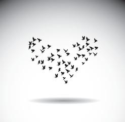 Birds silhouette isolate shape heart love symbol.