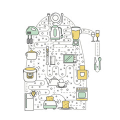 Kitchen concept vector flat line art illustration