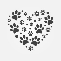 Dark paw prints in heart shape vector illustration