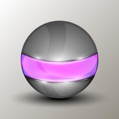 Metal sphere with purple line