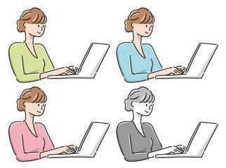 パソコンを操作する女性の上半身