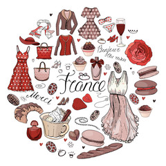 Circle made of different symbols related to France, travelling and Paris. Red and brown color. Round template for greeting cards isolated on white