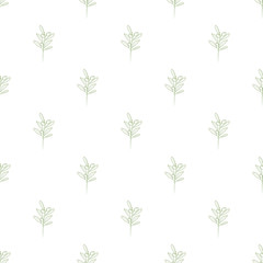 Olive branches seamless with trendy line style art pattern vector.