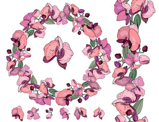 Wreath and vertical endless border made of different orchids. Exotic decorative flowers for season floral design