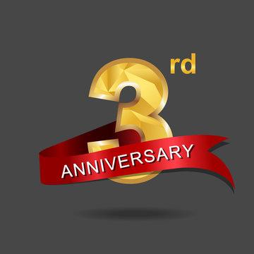 3rd anniversary, aniversary, years anniversary celebration logotype. Logo,numbers and ribbon anniversary.