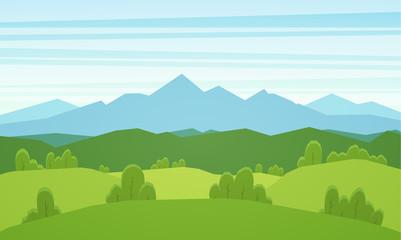 Cartoon mountains flat summer landscape with green hills