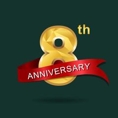 8th anniversary, aniversary, years anniversary celebration logotype. Logo,numbers and ribbon anniversary.
