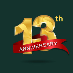 13th anniversary, aniversary, years anniversary celebration logotype. Logo,numbers and ribbon anniversary.