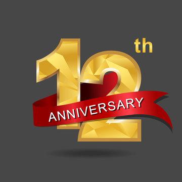 12th anniversary, aniversary, years anniversary celebration logotype. Logo,numbers and ribbon anniversary.