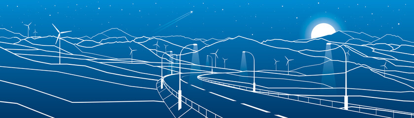 Illuminated Highway in the mountains. Night scene. White lines on blue background. Windmills power. Vector design art