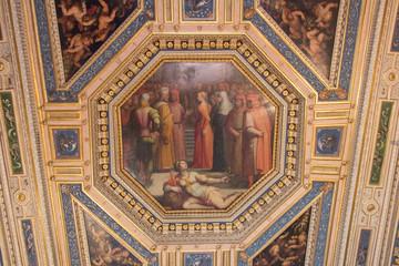 Ceiling fresco by Giorgia Vasari and Giovanni Stradano in the Room of Gualdrada, Palazzo Vecchio, Florence, Italy.