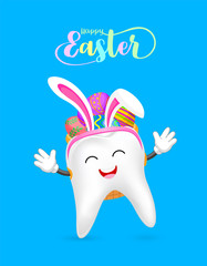 Cute cartoon tooth with backpack of Easter eggs.  Eggs hunt,  Happy Easter day.  Cartoon character design. Illustration isolated on green background.