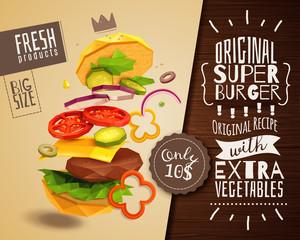 3D Hamburger Horizontal Poster