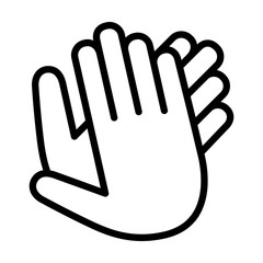 Hands clapping, applauding or ovation applause gesture line art icon for apps and websites