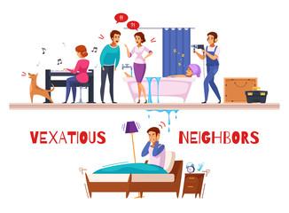 Neighbors Relations Cartoon Composition