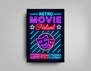 Retro Movie Festival postcard typography design neon template. Brochure in style neon, neon sign, colorful poster, banner light, night bright advertising on movies, cinema. Vector Illustrations