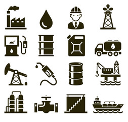 Oil industry icons. Vector illustrations.
