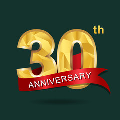 30th anniversary, aniversary, years anniversary celebration logotype. Logo,numbers and ribbon anniversary.