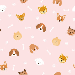 Dog Breeds Head Seamless Pattern, Pink Background, Footprint and Bone