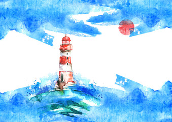 Watercolor illustration of lighthouse. Storm on the sea, clouds, dews, storm, hurricane, Red sun. A splash of blue paint. Art illustration, postcard Beautiful tower.