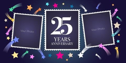 25 years anniversary vector emblem, logo