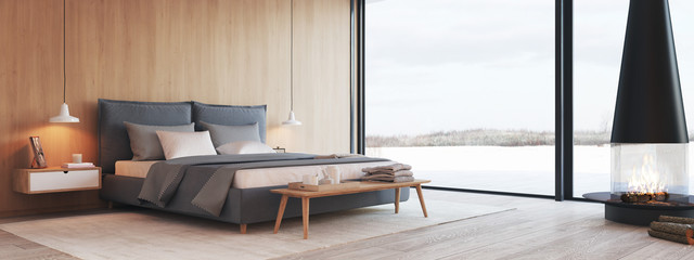 Fototapeta modern bedroom in a apartment with view. 3d rendering obraz