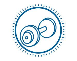 blue barbell icon sport equipment tool utensil image vector