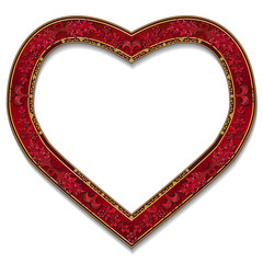 frame in the shape of heart ruby color with shadow