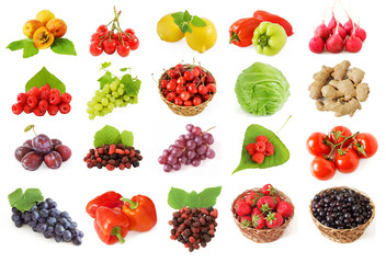 fruits and vagatables set isolated on white background