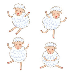 Funny little sheep set in different poses. Collection isolated sheep in cartoon style.