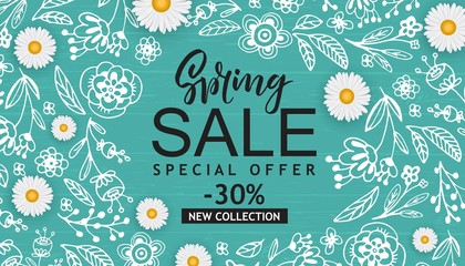 Spring Sale Vector Illustration. Seasonal Banner With Hand Drawn Flowers, Leaves.