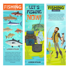 Vector fisherman and fishing equipement banners