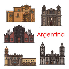 Argentina landmarks vector buildings line icons