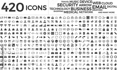 Wall mural Black web business technology icons set