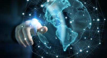 Businessman using USA world map interface 3D rendering