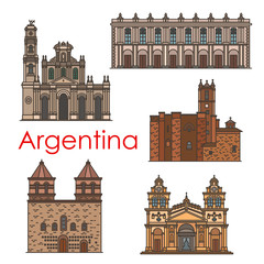 Argentina landmarks vector architecture line icons