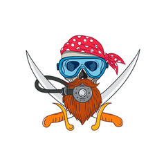 Drawing sketch style illustration of a pirate skull with hipster beard and wearing a diver or diving mask and regulator with crossed sword or cutlass and bandana or kerchief on isolated background.