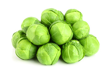 Printed roller blinds Brussels Brussels sprouts isolated on white background closeup
