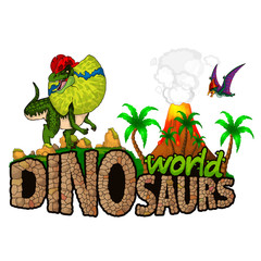 Logo  Dinosaurs World. Vector illustration.