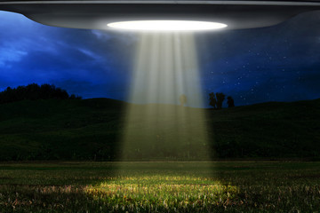 Wall Murals UFO Ufo flying at night