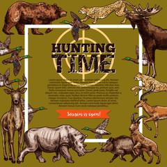 Vector hunt club hunting open season sketch poster