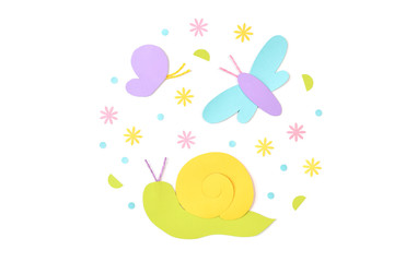 Butterfly , dragonfly and snail paper cut on white background - isolated