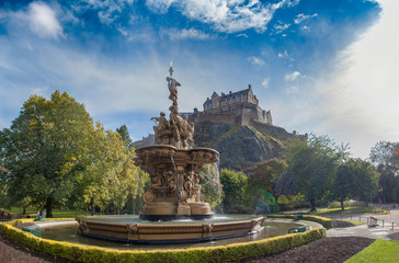Ross Fountain with Edinburgh Castle in the background