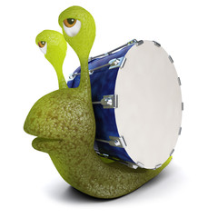 3d Funny cartoon snail character carrying a bass drum instead of a shell