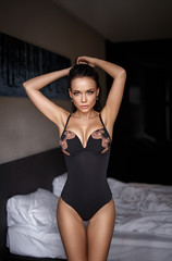 Perfect girl in a sexy black lingerie