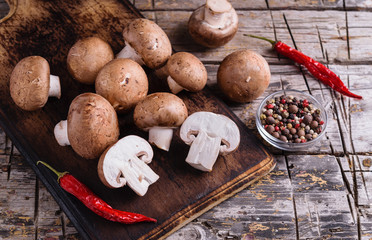 Fresh brown champignon mushrooms
